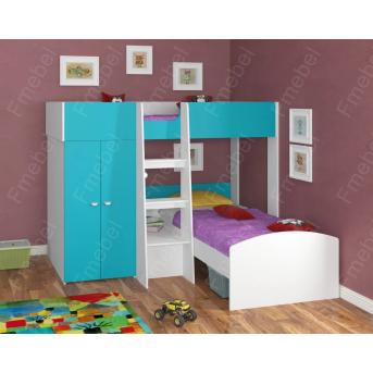 Двухъярусная кровать ДКЧ 128 Fmebel 90x200
