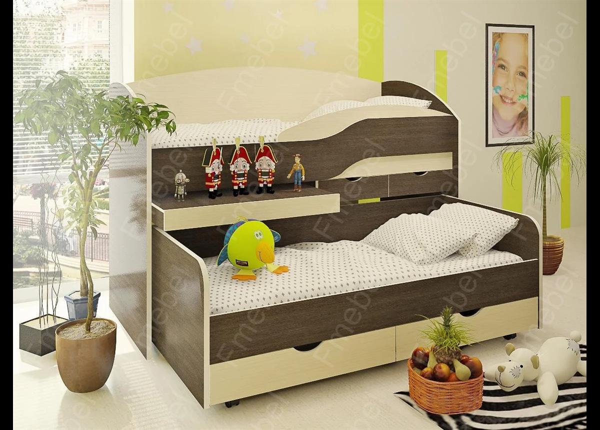 Двухъярусная кровать низкая ВКД 5 Fmebel 80x190
