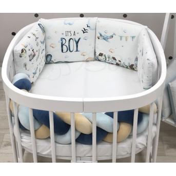 """Комплект для круглых кроваток Art Desing + бортик """"Коса"""" Boy Маленькая Соня"""