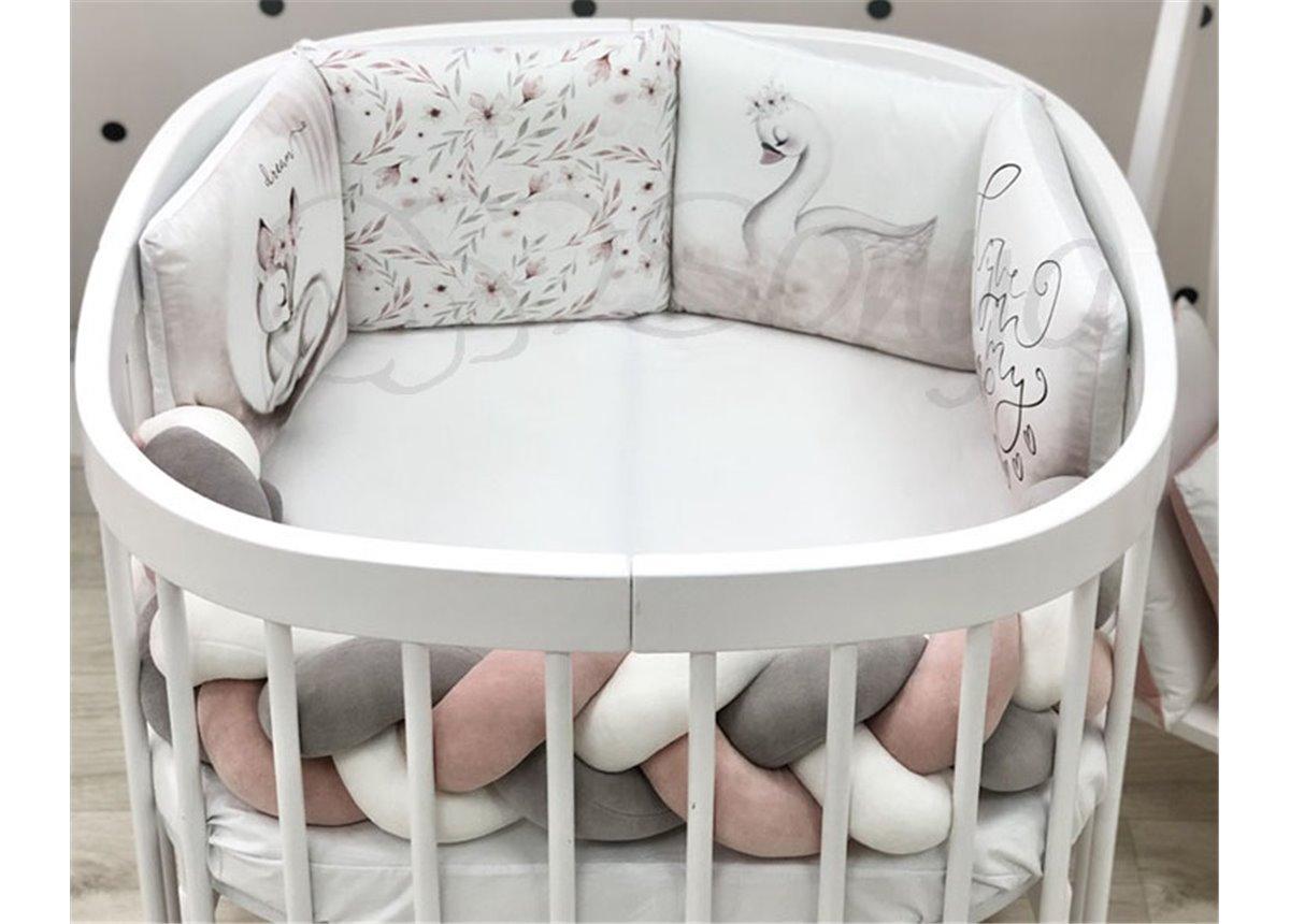 """Комплект для круглых кроваток Art Desing + бортик """"Коса"""" Оленёнок Маленькая Соня"""