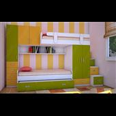 Двухъярусная кровать с дополнительным спальным местом КЧТ 119 Fmebel 80x190