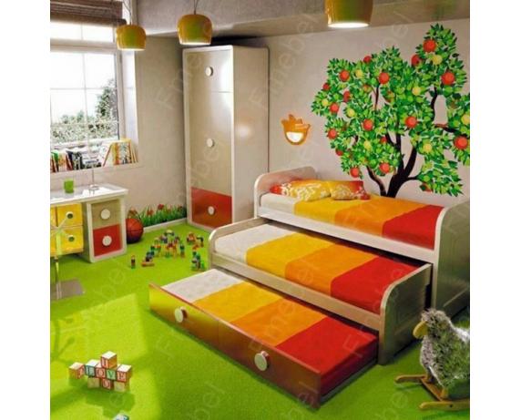 Двухъярусная кровать низкая с дополнительным спальным местом Ноттингем Fmebel