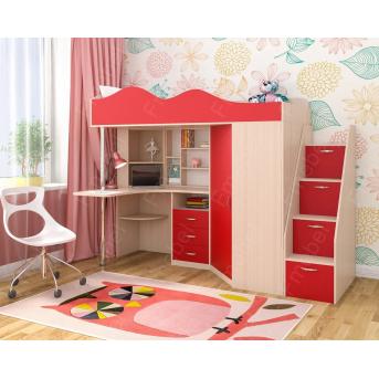 """Кровать-чердак со столом """"3"""" Fmebel 80x190"""