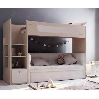 Кровать-чердак с местом под диван Коннектикут Fmebel 80x190