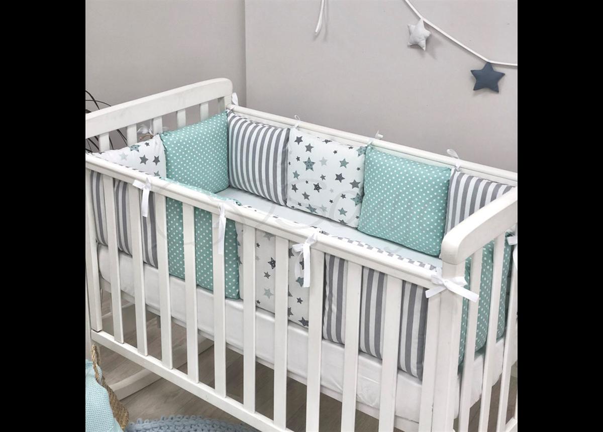 Бортики Baby Design Stars мятный + простынь Маленькая Соня