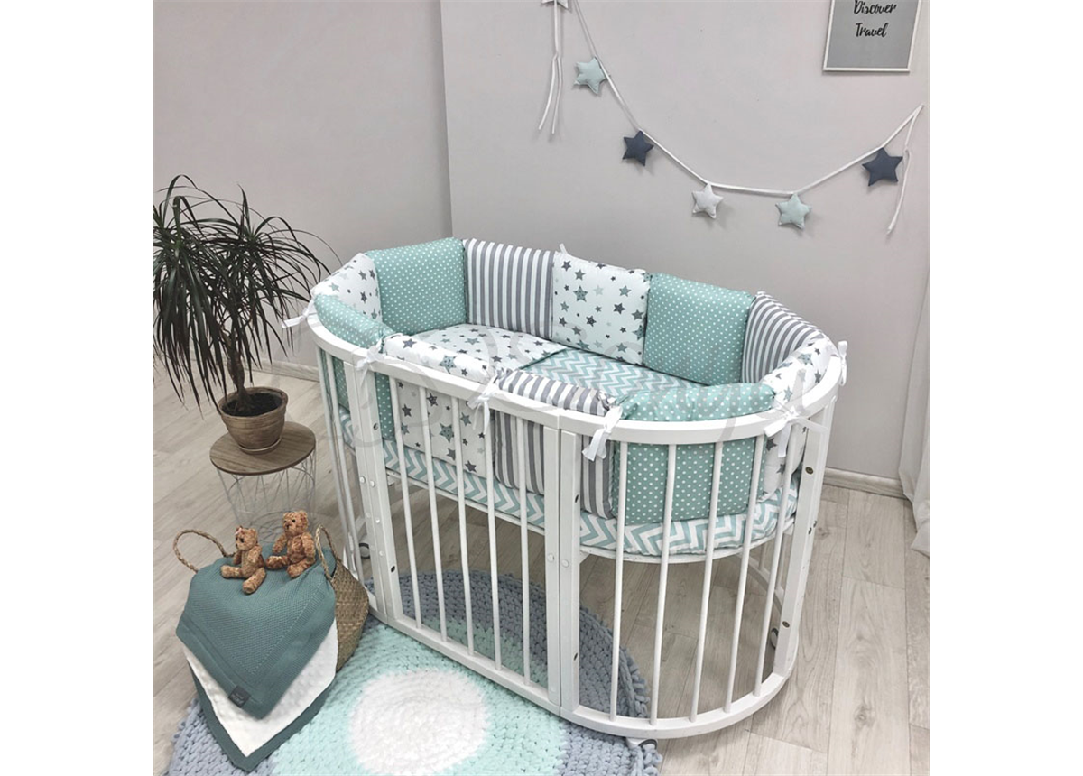Комплект Baby Design Stars мятный (6 предметов) для круглых кроваток Маленькая Соня