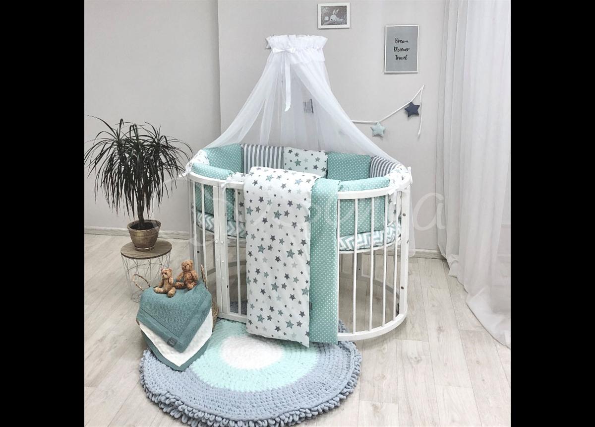 Комплект Baby Design Stars мятный (7 предметов) для круглых кроваток Маленькая Соня