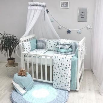 Комплект Baby Design Stars мятный (7 предметов) Маленькая Соня