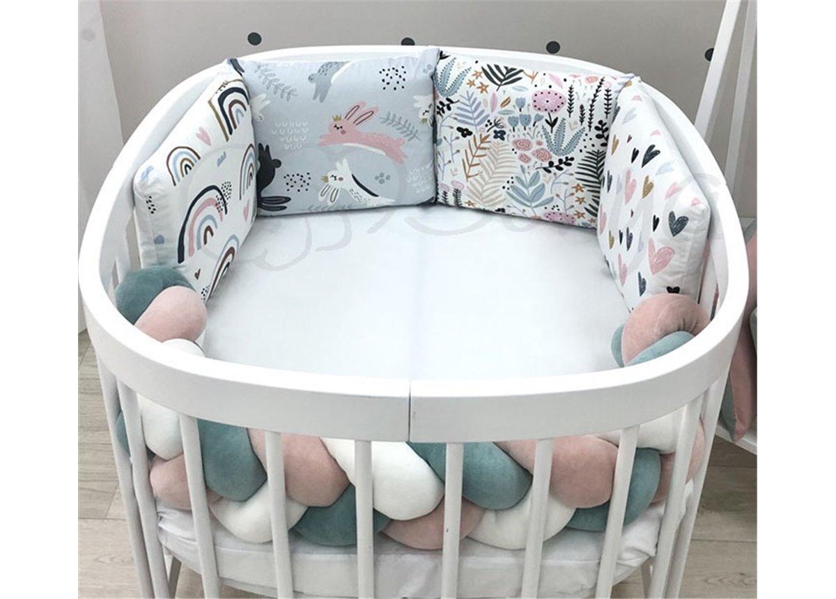 """Комплект для круглых кроваток Art Desing + бортик """"Коса"""" Зайцы радуги Маленькая Соня"""