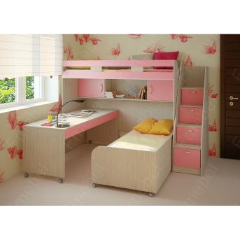 Кровать-чердак со столом Квинсленд Fmebel 80x190