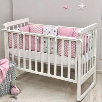 Бортики Baby Design Stars розовый + простынь Маленькая Соня