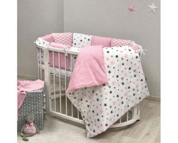 Бортики для круглых кроваток Baby Design Stars розовый + простынь Маленькая Соня