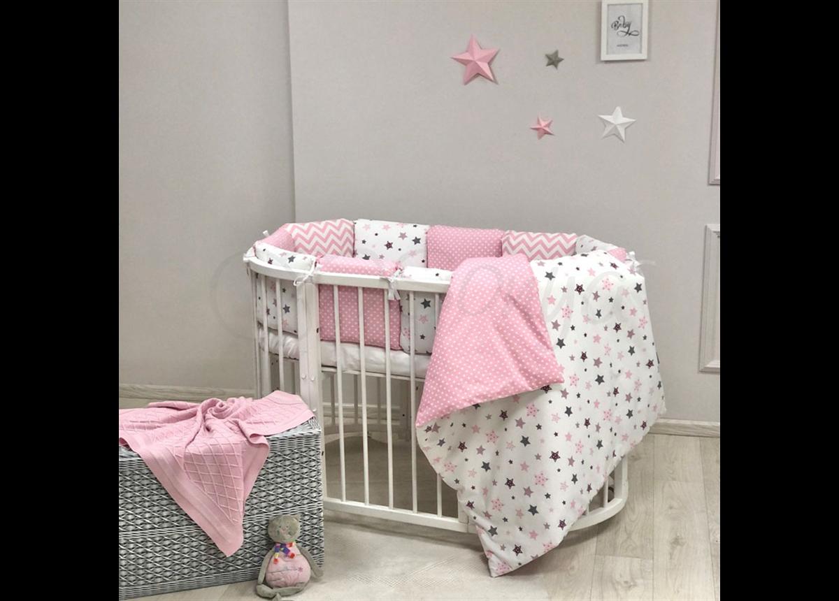 Комплект Baby Design Stars розовый (6 предметов) для круглых кроваток Маленькая Соня