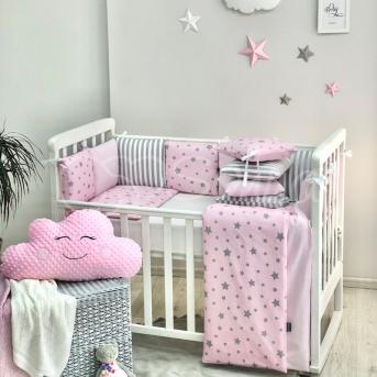 Бортики Baby Design Stars розовый звёзды с полосками + простынь Маленькая Соня