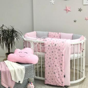 Бортики для круглых кроваток Baby Design Stars розовый звёзды с полосками + простынь Маленькая Соня
