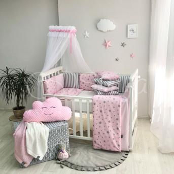 Комплект Baby Design Stars розовый звёзды с полосками (7 предметов) Маленькая Соня