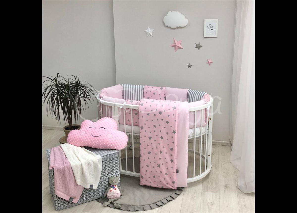 Комплект Baby Design Stars розовый звёзды с полосками (6 предметов) для круглых кроваток Маленькая Соня