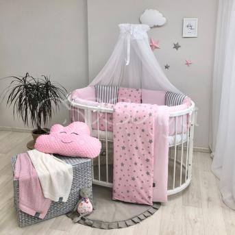 Комплект Baby Design Stars розовый звёзды с полосками (7 предметов) для круглых кроваток Маленькая Соня
