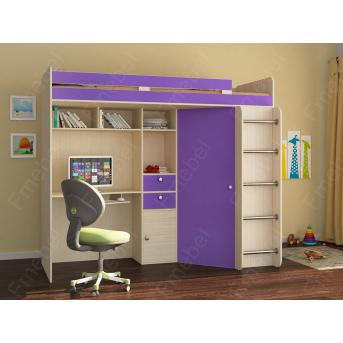 Кровать-чердак со столом Верона Fmebel 80x190