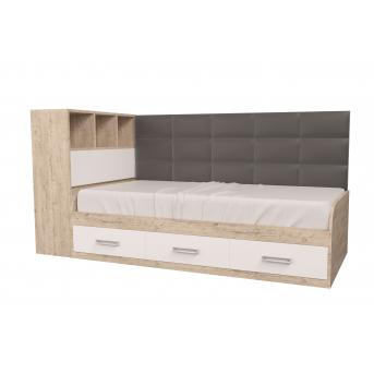 Кровать Элли с коробом для белья Дуб шервуд MebelKon 120x190