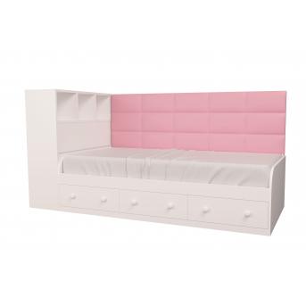 Кровать Элли с коробом для белья Белый MebelKon 90x190