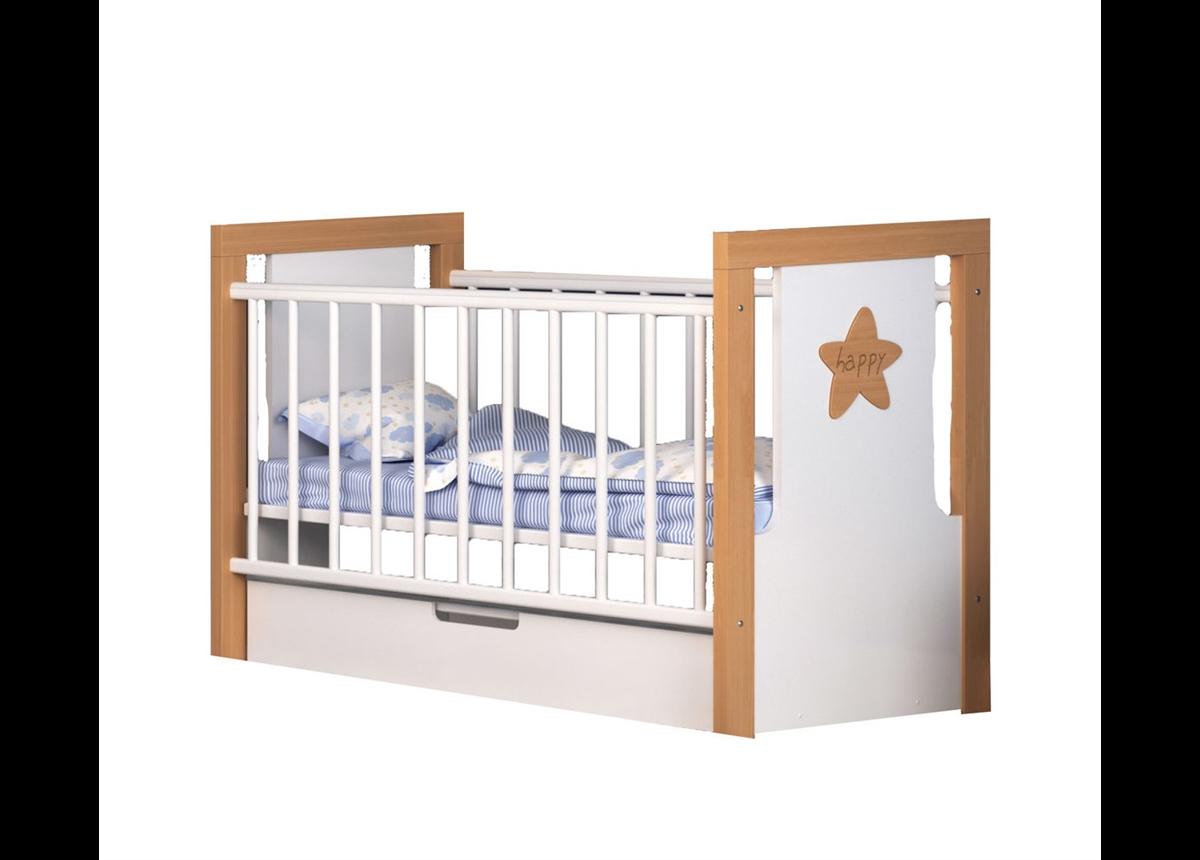 Кроватка с маятниковым механизмом и ящиком Смешарики Сиди-М 60x120
