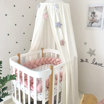 Бортики-косичка к кроватке Sleepy Мама Уложила розовый