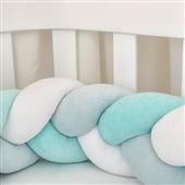 Бортики-косичка к кроватке Sleepy Мама Уложила голубой