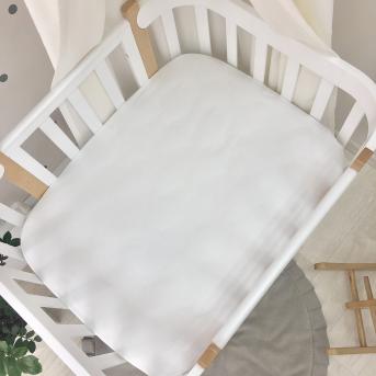 Простынь на резинке к кроватке Sleepy Мама Уложила белый