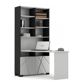 438 Письменный стол-стеллаж левый Серия X Dark Meblik