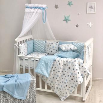 Комплект Baby Design Stars серо-голубой (7 предметов) Маленькая Соня