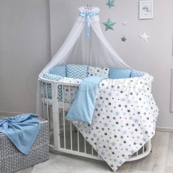 Комплект Baby Design Stars серо-голубой (7 предметов) для круглых кроваток Маленькая Соня