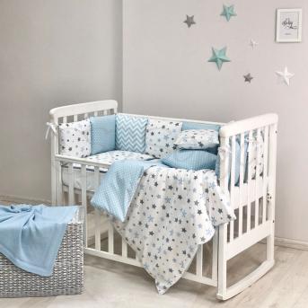 Комплект Baby Design Stars серо-голубой (6 предметов) Маленькая Соня