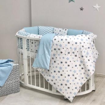 Комплект Baby Design Stars серо-голубой (6 предметов) для круглых кроваток Маленькая Соня