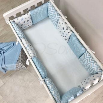 Бортики Baby Design Stars серо-голубой + простынь Маленькая Соня