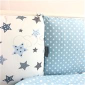 Бортики для круглых кроваток Baby Design Stars серо-голубой + простынь Маленькая Соня