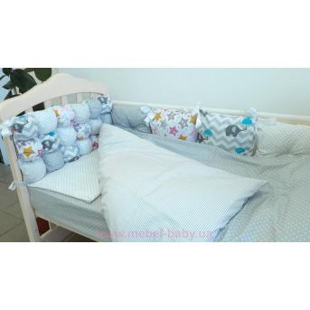 """Комплект в кроватку 120*60 """"Joy"""" комбинированный (6 ед) серый VIALL"""