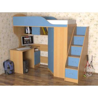 Кровать-чердак со столом Гринвилл Fmebel 80x190