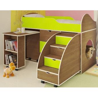 Кровать-чердак со столом Конкорд Fmebel 70x160