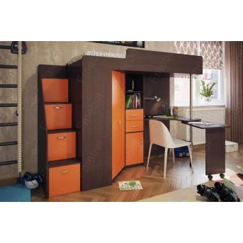 Кровать-чердак со столом Ньюман  Fmebel 80x200