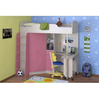 Кровать-чердак со столом Бруклин  Fmebel 80x190