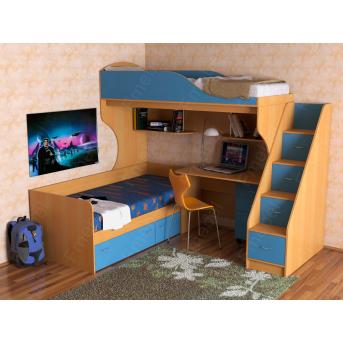 Кровать-чердак со столом Дейтон  Fmebel 80x190