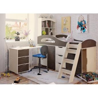 Кровать-чердак со столом Канзас Fmebel 80x200