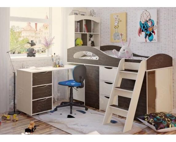 Кровать-чердак со столом Канзас Fmebel 80x180