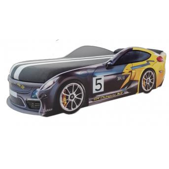 Кровать-машинка Porsche с матрасом без подъемного механизма MebelKon 80x180 серый