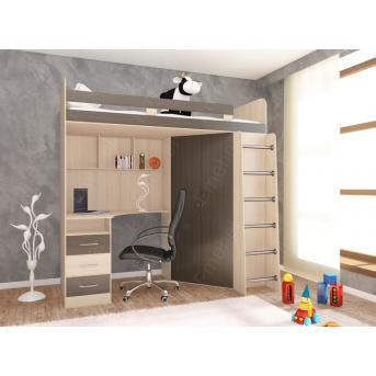 Кровать-чердак со столом Окленд Fmebel 80x190
