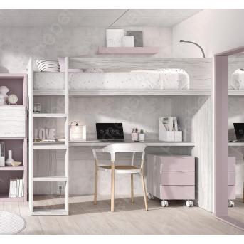 Кровать-чердак со столом Касабланка Fmebel 90x200