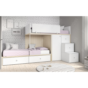 Двухъярусная кровать со шкафом Вестланд Fmebel 90x200
