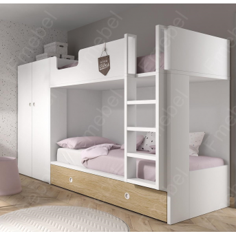 Двухъярусная кровать со шкафом Танзания Fmebel 90x200