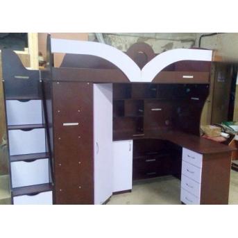 Распродажа Детская кровать-чердак с рабочей зоной, угловым шкафом, тумбой и лестницей-комодом (кл27-2) Мерабель 80x190